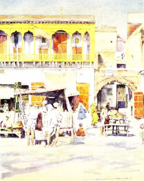 India by Mortimer Menpes - A Bazaar, Delhi (1905)