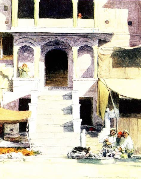 India by Mortimer Menpes - At the Steps of a Palace (1905)