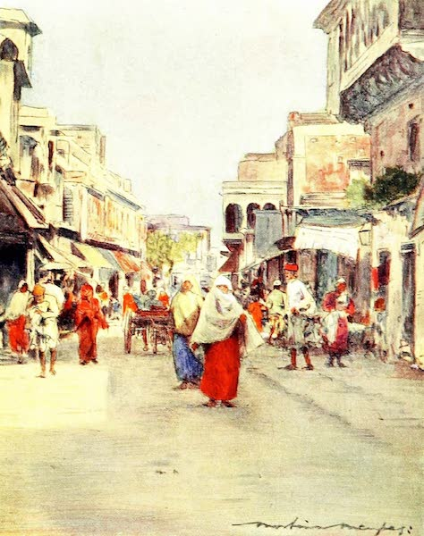 India by Mortimer Menpes - A Side Street in Agra (1905)