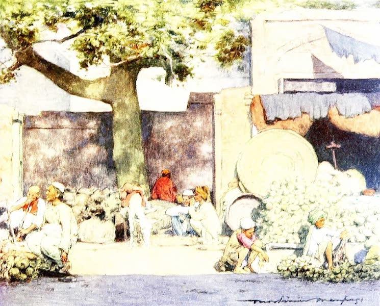 India by Mortimer Menpes - Fruit Stalls at Delhi (1905)