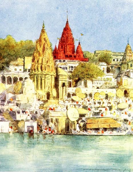 India by Mortimer Menpes - A River Festival at Benares (1905)