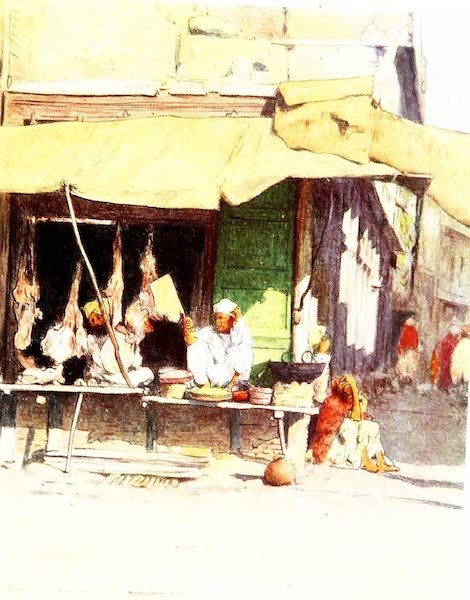 India by Mortimer Menpes - A Meat Shop in Peshawur (1905)