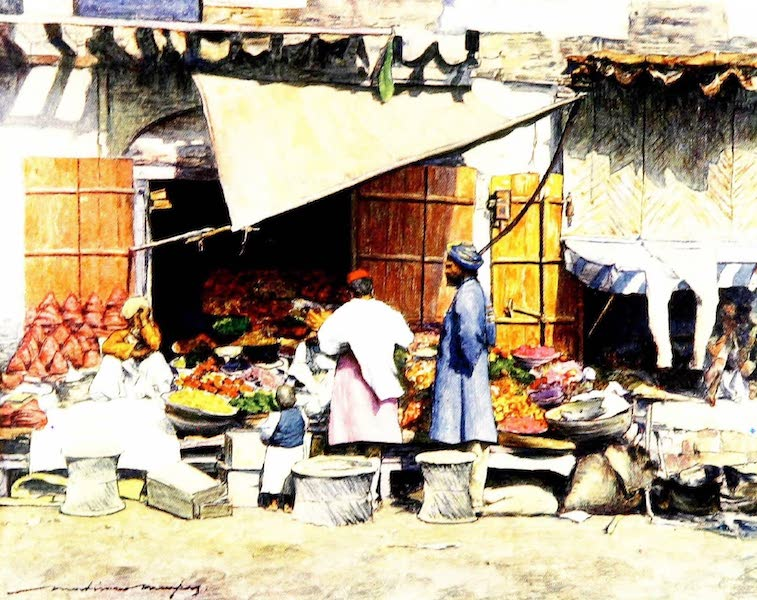 India by Mortimer Menpes - A Fruit Stall (1905)