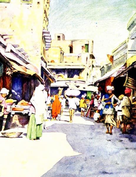 India by Mortimer Menpes - A Bazaar in Amritsar (1905)