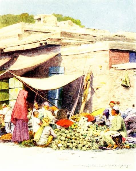 India by Mortimer Menpes - Vegetable Market, Delhi (1905)