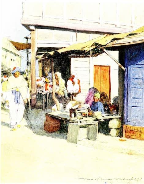 India by Mortimer Menpes - A Street Corner, Peshawur (1905)