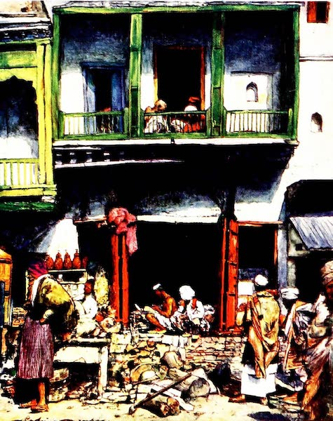 India by Mortimer Menpes - A Busy Bazaar in Delhi (1905)