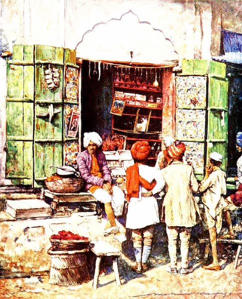 India by Mortimer Menpes - A Popular Stall (1905)