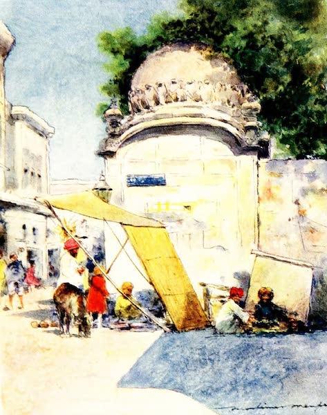 India by Mortimer Menpes - At a Street Corner, Amritsar (1905)