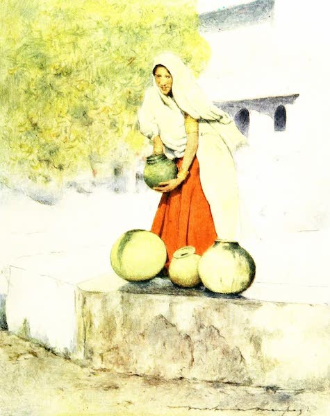 India by Mortimer Menpes - A Woman at the Well, Jeypore (1905)