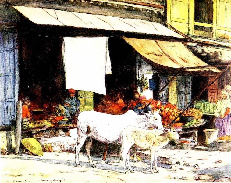 India by Mortimer Menpes - A Corner of the Fruit Market, Delhi (1905)