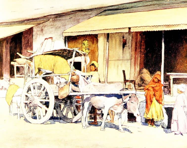 India by Mortimer Menpes - A Bullock-cart, Ajmere (1905)