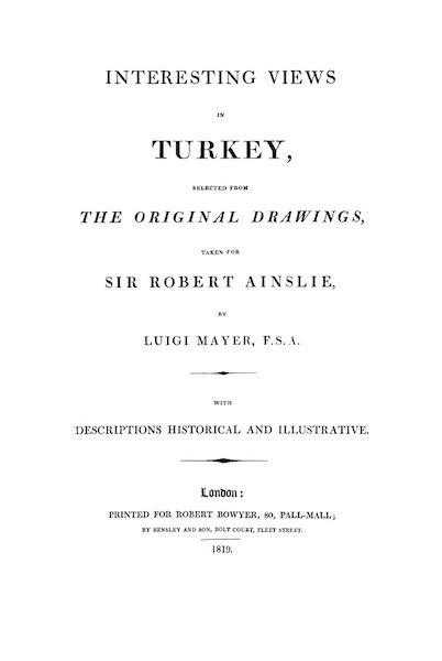 Interesting Views in Turkey - Title Page (1819)