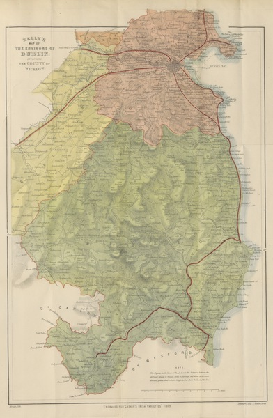Irish Varieties - Kelly's Map of the Environs of Dublin Including the County of Wicklow (1874)