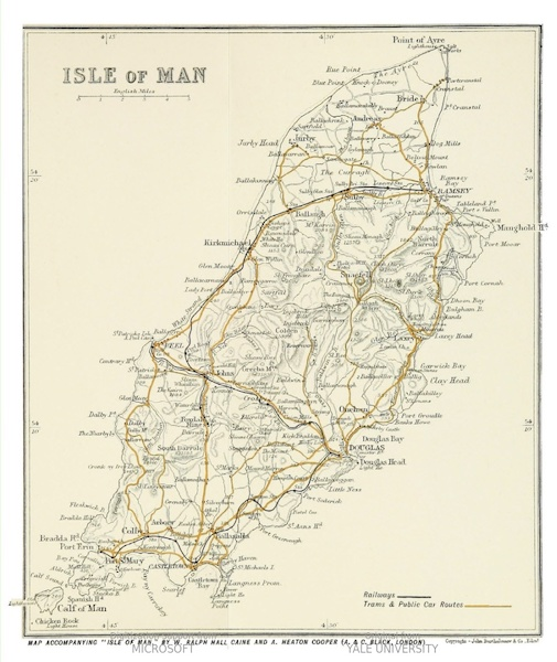 Isle of Man Painted and Described - General Map of the Island (1909)