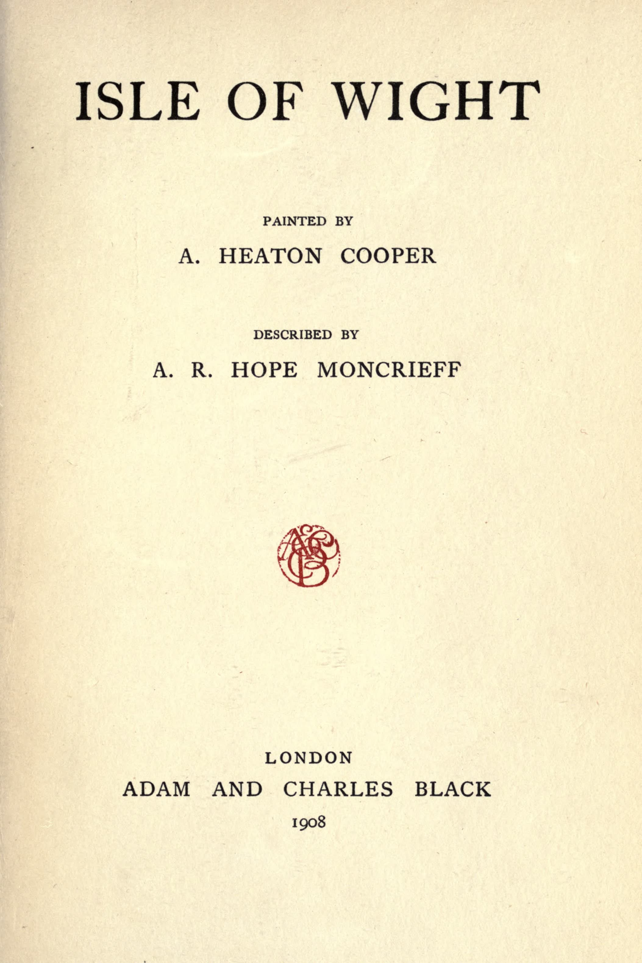 Isle of Wight Painted and Described - Title Page (1908)