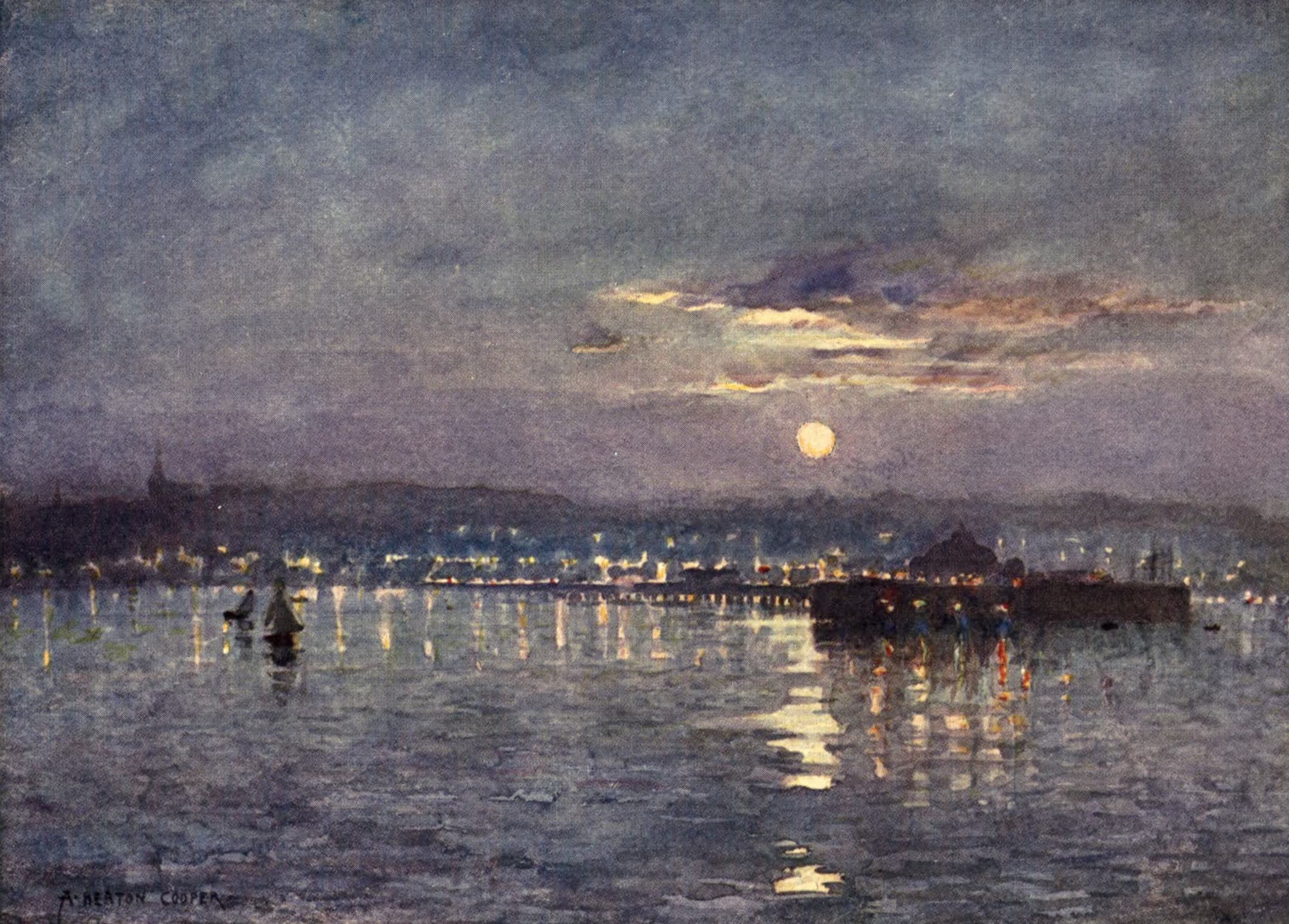 Isle of Wight Painted and Described - Ryde - Moonrise (1908)