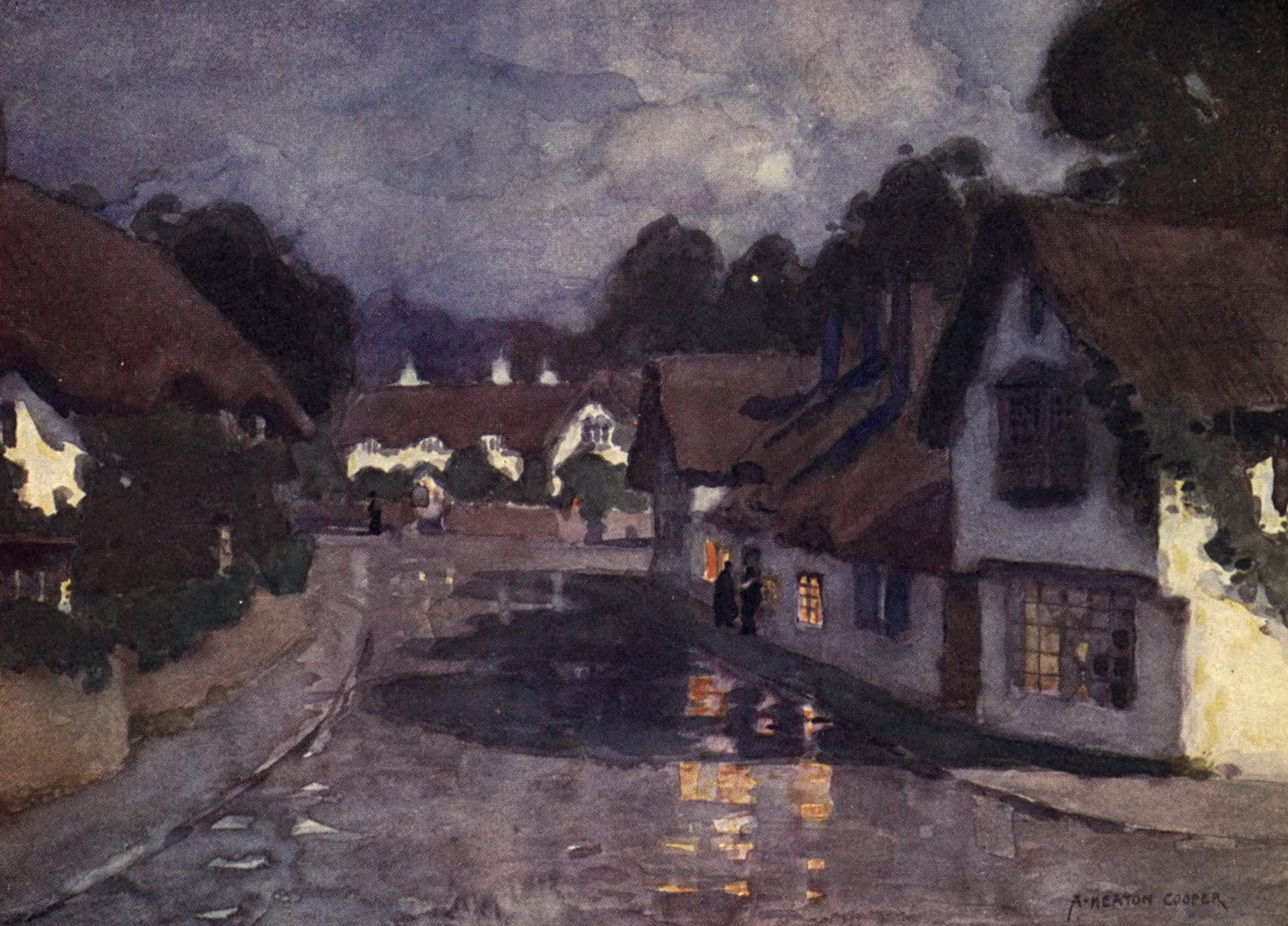 Isle of Wight Painted and Described - Shanklin Village - Moonlight after rain (1908)
