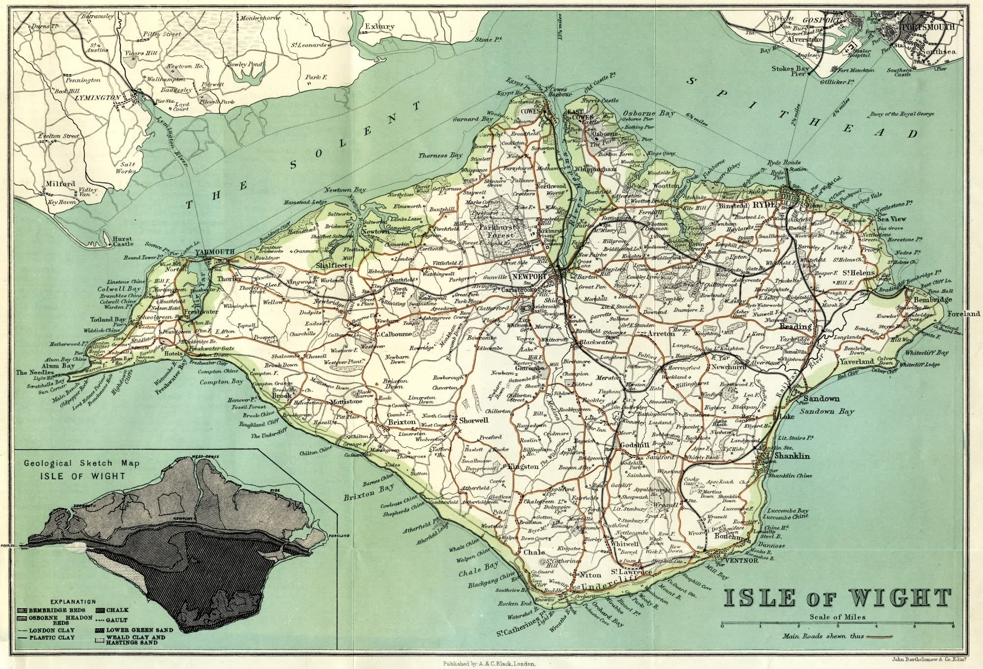 Isle of Wight Painted and Described - Isle of Wight Map (1908)