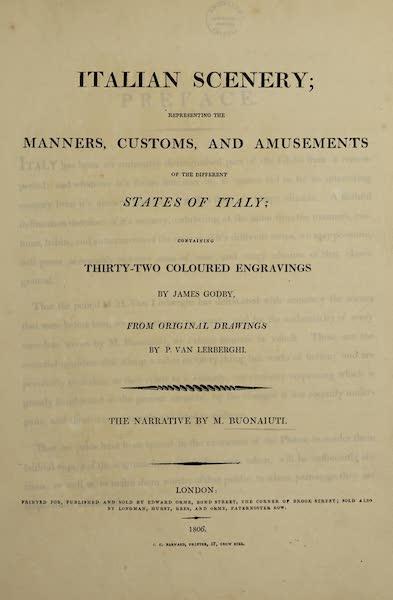 Italian Scenery - Title Page (1806)