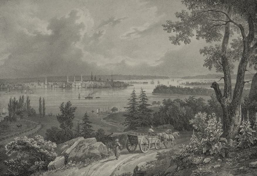 Itineraire Pittoresque du Fleuve Hudson Atlas - View of New York from taken from Weahawk (1828)