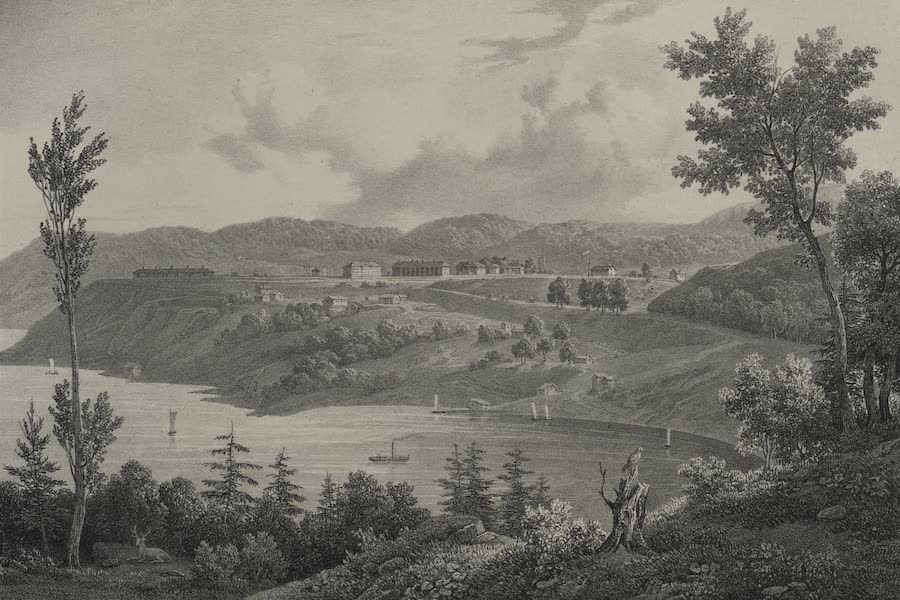 Itineraire Pittoresque du Fleuve Hudson Atlas - General View of the Military School West Point (1828)