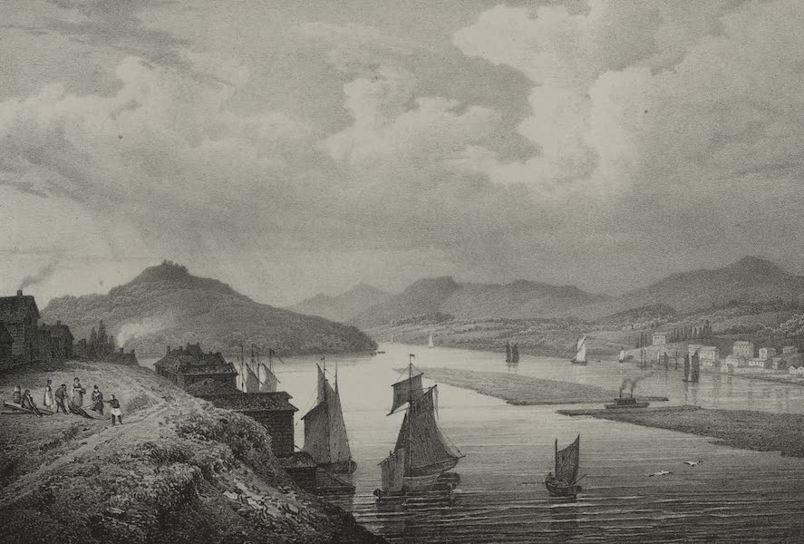 Itineraire Pittoresque du Fleuve Hudson Atlas - View of the Hudson and the Catskill Mountains (1828)