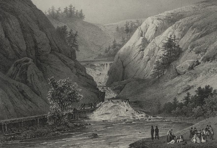 Itineraire Pittoresque du Fleuve Hudson Atlas - Falls of Mount Ida, above the town of Troy (1828)