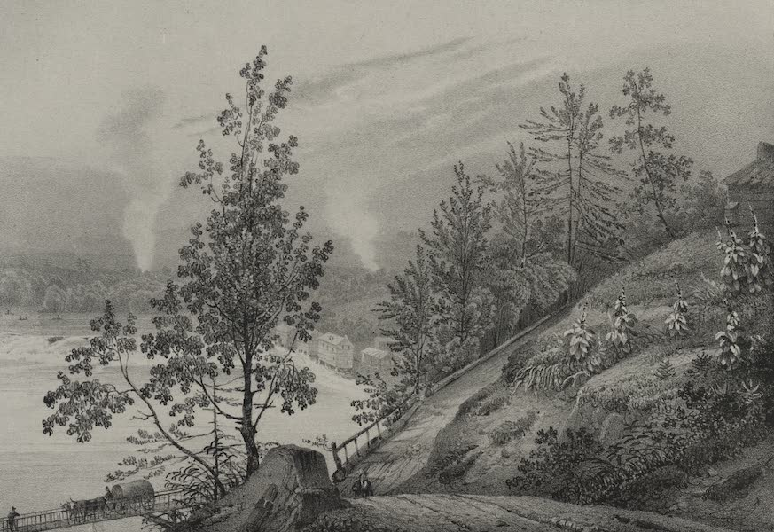 Itineraire Pittoresque du Fleuve Hudson Atlas - Course of the Hudson and the Mills near Sandy Hill (1828)