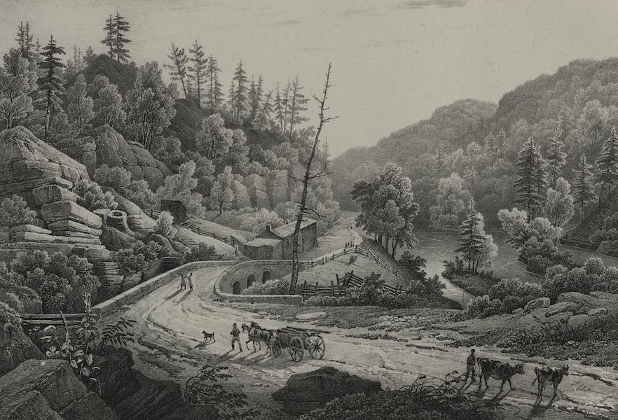 Itineraire Pittoresque du Fleuve Hudson Atlas - Road and Bridge over the Mohawk (1828)