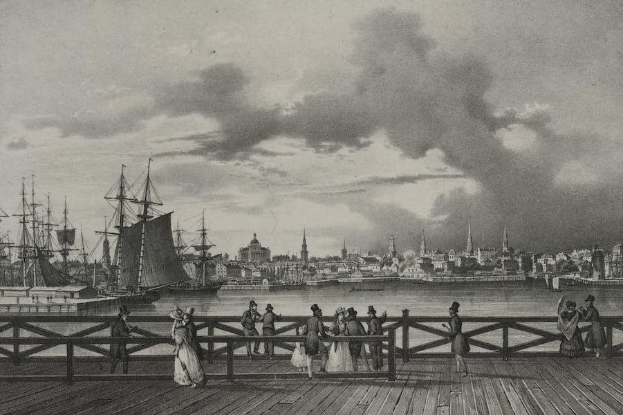 Itineraire Pittoresque du Fleuve Hudson Atlas - View of Boston and the south Boston Bridge (1828)