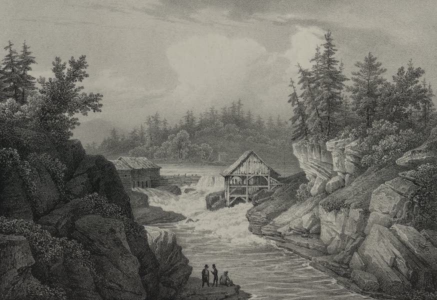 Itineraire Pittoresque du Fleuve Hudson Atlas - Saw Mill near Luzerne, source of the Hudson (1828)