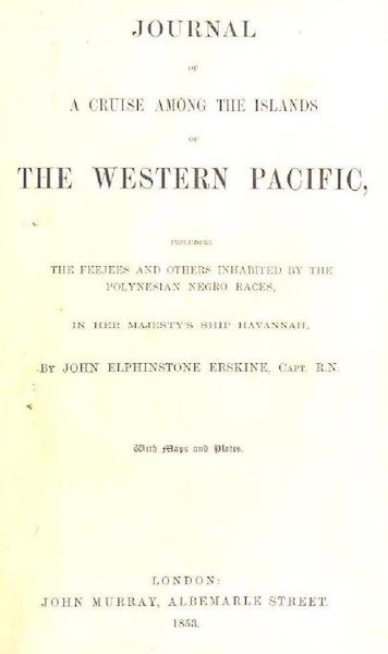 Journal of a Cruise Among the Islands of the Western Pacific - Title Page (1853)