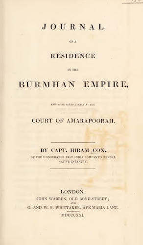 Aquatint & Lithography - Journal of a Residence in the Burmhan Empire
