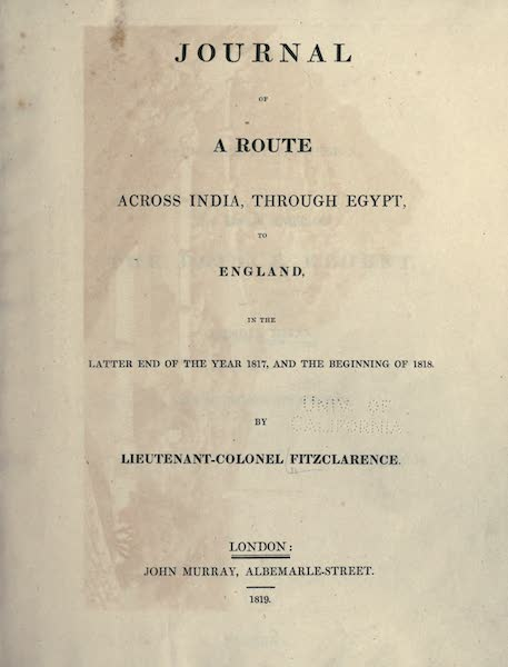 Journal of a Route Across India - Title Page (1819)