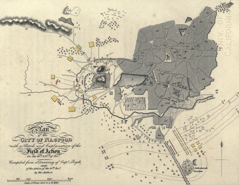 Journal of a Route Across India - Plan of the City of Nagpoor (1819)