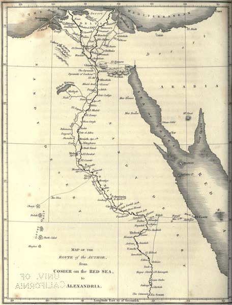 Journal of a Route Across India - Map of the Route of the Author (1819)