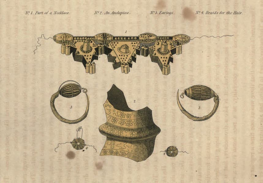 Journal of a Route Across India - A Sketch of some of the Gold Ornaments worn by the Woman of Timbuctoo (1819)