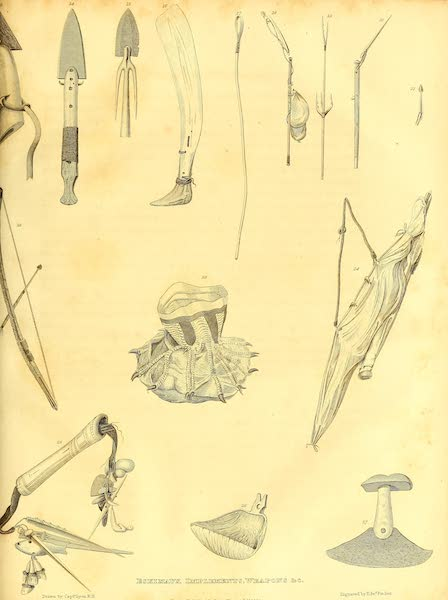 Journal of a Second Voyage for the Discovery of a North-West Passage - Esquimaux Implements, Weapons, &c.(Fig. 13 to 27.) (1824)