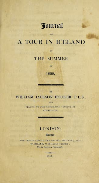 Journal of a Tour in Iceland in the Summer of 1809 - Title Page (1811)