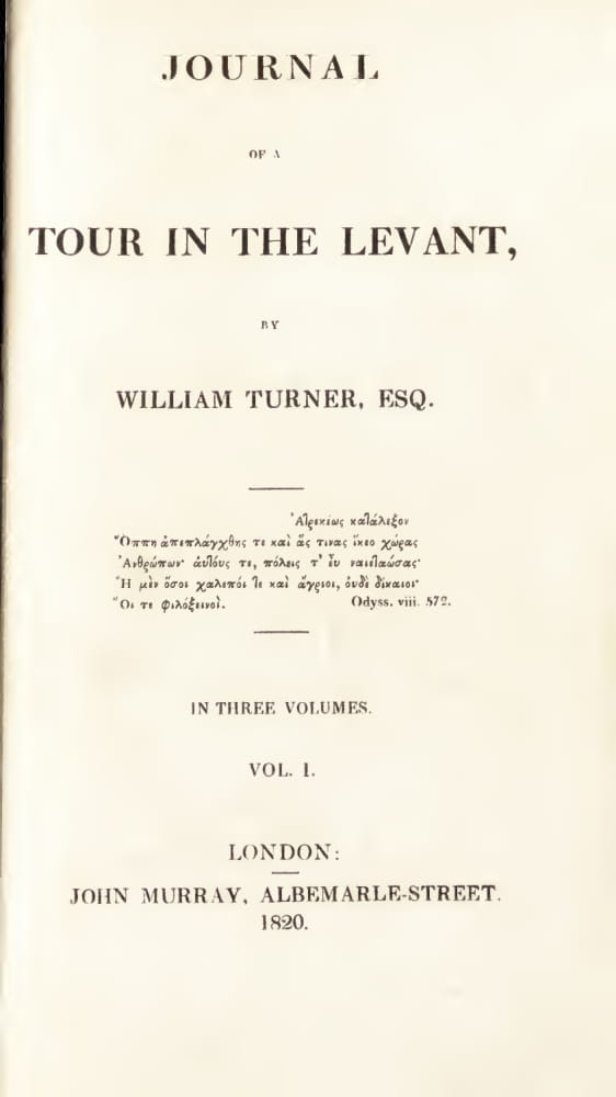 English - Journal of a Tour in the Levant Vol. 1