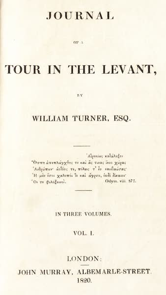 Journal of a Tour in the Levant Vol. 1 - Title Page (1820)