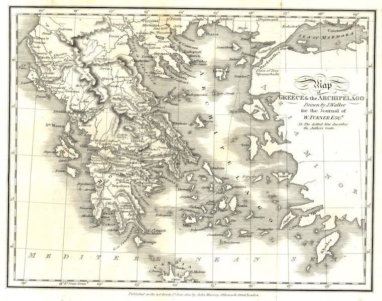 Journal of a Tour in the Levant Vol. 1 - Map of Greece and the Archipelago (1820)