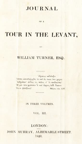 Journal of a Tour in the Levant Vol. 3 - Title Page (1820)