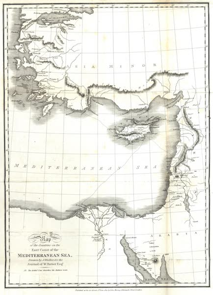 Journal of a Tour in the Levant Vol. 3 - Map of the Countries on the East Coast of the Mediterranean Sea (1820)