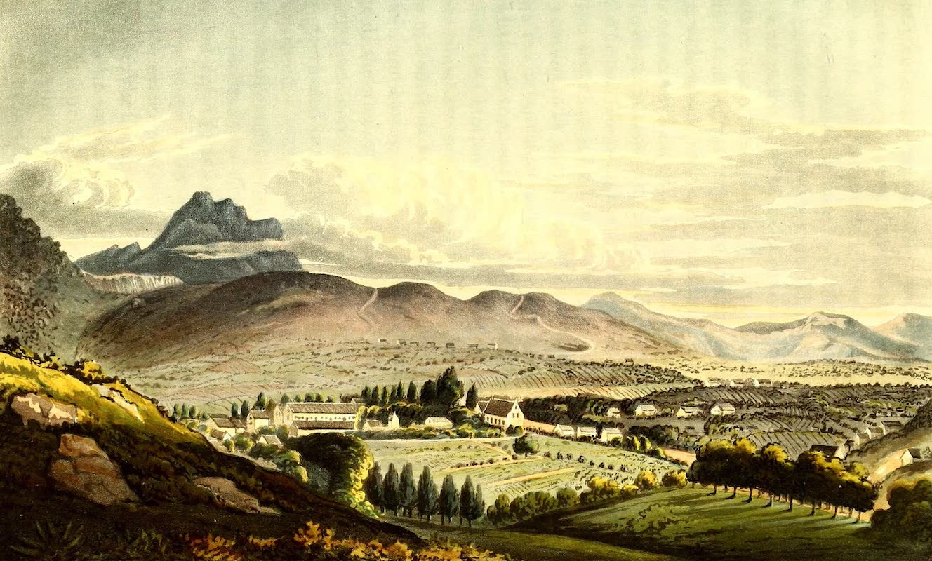Journal of a Visit to South Africa - General View of the Missionaries' Premises & part of the Village of Gnadenthal (1818)