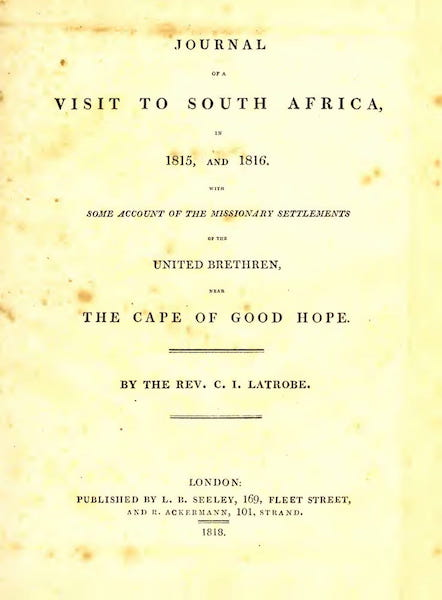 Journal of a Visit to South Africa - Title Page (1818)