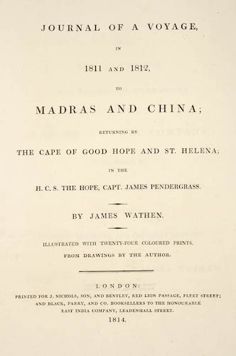 Aquatint & Lithography - Journal of a Voyage, in 1811 and 1812, to Madras and China