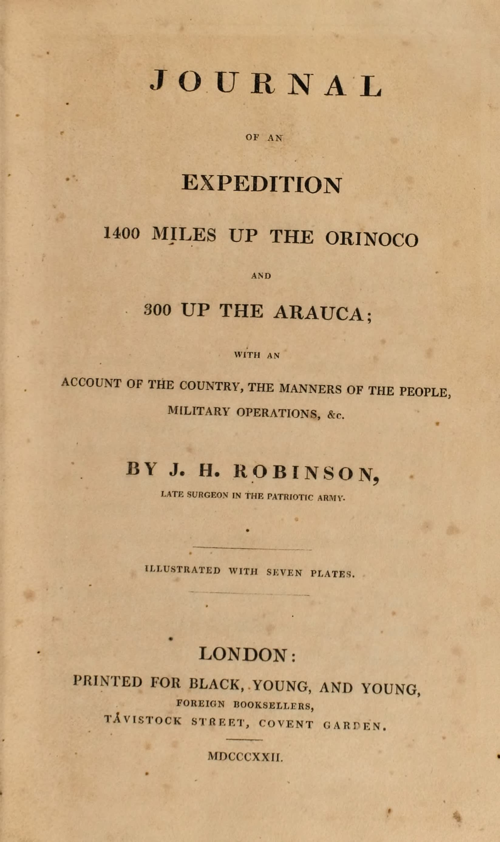 Journal of an Expedition 1400 miles up the Orinoco - Title Page (1822)