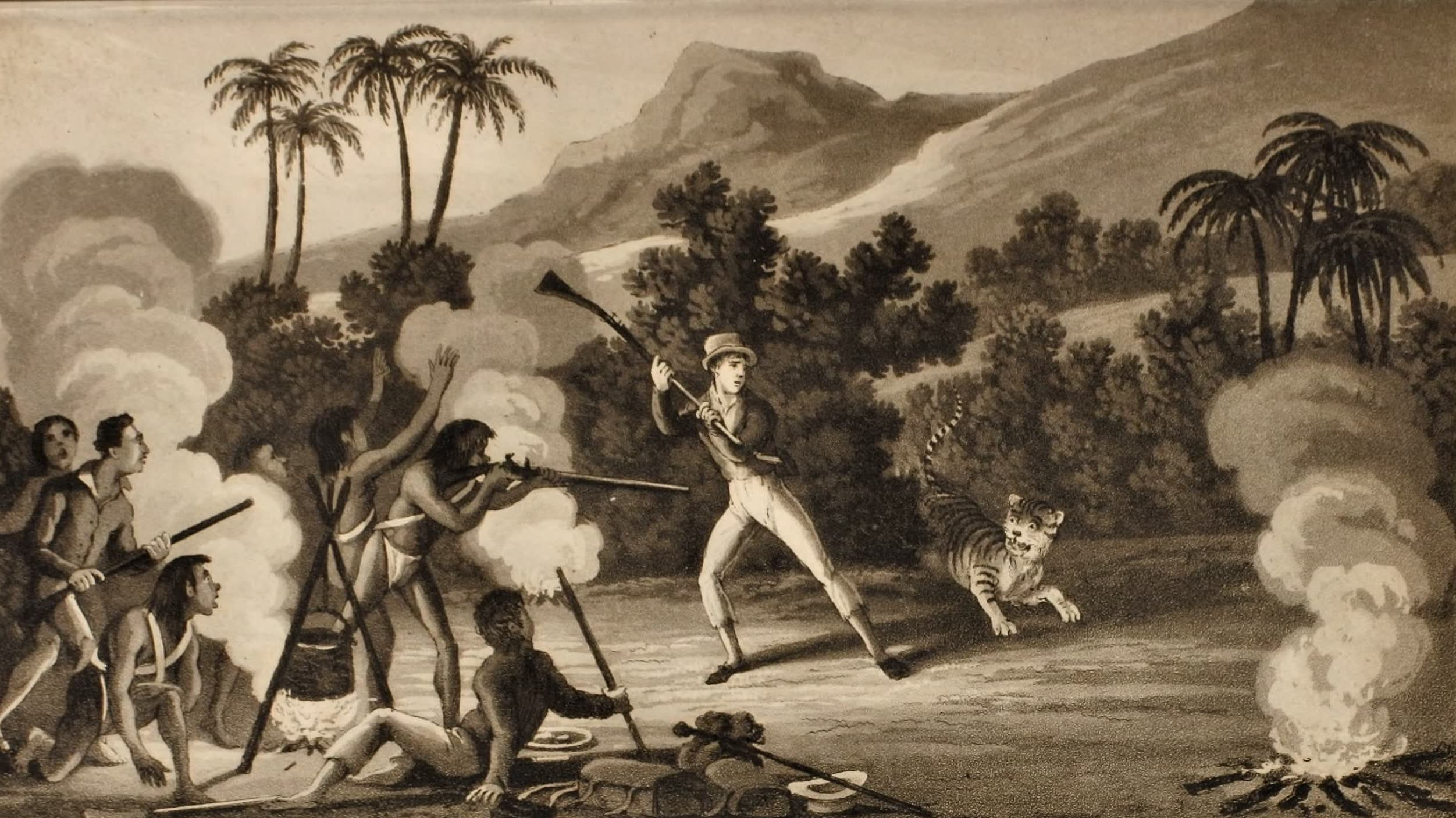 Journal of an Expedition 1400 miles up the Orinoco - Attack by a Tiger (1822)
